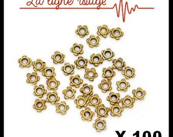Set of 100 beads spacer star antique gold 4 mm x 4mm, hole: 1.2 mm