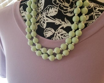 Double strand necklace with mint green beads and silver accent beads