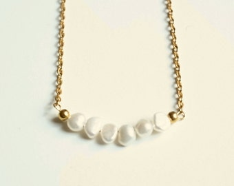 white pearl necklace, pearl jewelry, long goldnecklace, gold pearl necklace, bridal jewelry, bridesmaid jewelry, romantic gift, for her