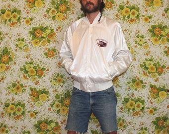 Vintage White  Shiny Bomber Jacket. Retro 80s White Bomber Jacket. Silky 80s Snap Button Trucking Company Bomber. Retro Nylon 80s Bomber.