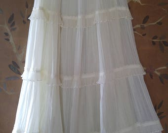 70s Gunnies romantic Ivory frill and lace skirt by Gunne Sax