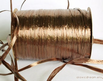 Pearl Milk Chocolate Brown Raffia Ribbon - 30/100 yards - 1/4 inch wide