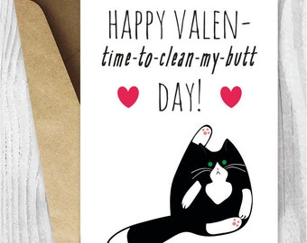 Anti Valentine Card Printable, Funny Valentines Day Cards, Tuxedo Cat Valentine Day Card, Black and White Cat Anti Valentines Card Download