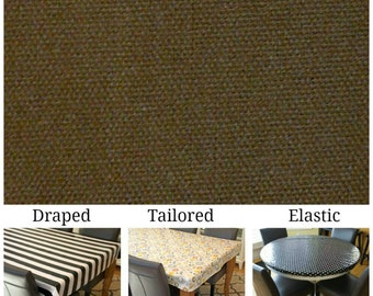 Laminated cotton aka oilcloth heavyweight tablecloth, fitted by TAILORING or fitted by ELASTIC or DRAPED, Dark Brown solid
