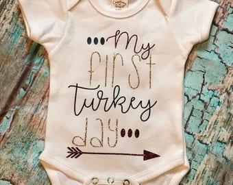 My First Turkey Day Onesie~Thanksgiving~Baby~Onesie