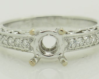 18K White Gold 0.25ctw F-VS2 Round Cut Natural Diamond Engagement Ring Setting 6; sku # 5358