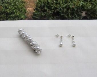 Swarovski White Pearl Barrette and Pearl Earrings Set Choose Your Size Barrette