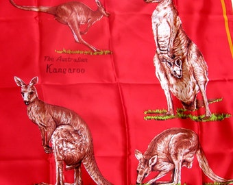 "Vintage AUSTRALIA KANGAROO Scarf-Red and Brown-Rectangle 27"" Square-Kangaroo Lover"