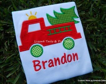 Firetruck Christmas Tree Boys Christmas Shirt