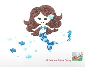 Applied fusing Mermaid fish and seahorse fabric Petit Pan fabrics blue sequined applique pattern iron-on fusible Mermaid