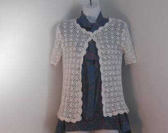 Vintage Crocheted Sweater Bolero Jacket  size 8