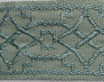 TAPE BRAID BORDER flat trim 2 inch verbena blue/green