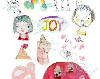JOY JOY JOY - Mixed media, journaling collage sheets - by Mindy Lacefield