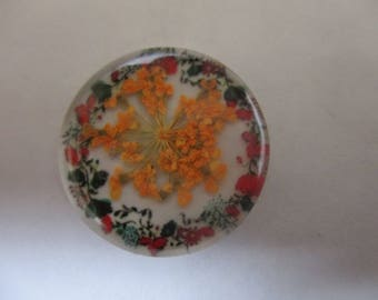 Orange dried flowers in glass dome needleminder needle keeper magnet minder
