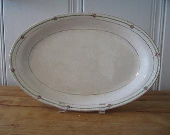 A Vintage Homer Laughlin Rose and Green Platter