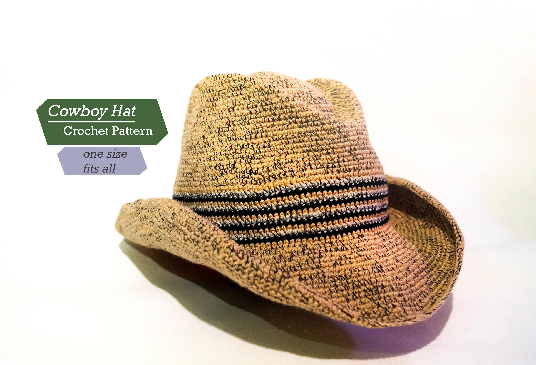 Cowboy Hat Crochet Pattern PDF - Adult Cowboy Hat - Crochet pattern ...
