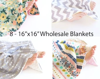 "Wholesale Set of 8 - 16""x16"" Baby Blankets, Security Blankets, Lovey"