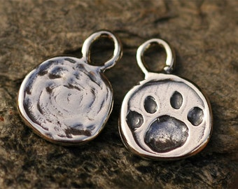 One Paw Print Charm in Sterling Silver CH-190