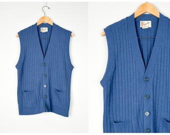 70s Cardigan Sweater Vest, Vintage Clothing, 70s Clothing, Retro Cardigan Vest, Grandpa Cardigan, Grunge Cardigan, Blue