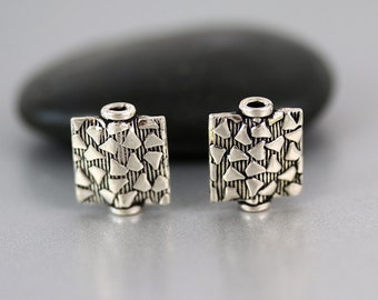 Flat Square Bead Pair - Sterling Silver - Sterling Silver Beads - 10mm