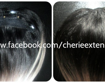 100% Human Hair Closure Topper Bangs Fringe 1B Off Black Silver Grey Ombre Balayage Any Colour Black Brown Blonde Highlights too