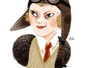 5x7 Amelia Earhart Illustration