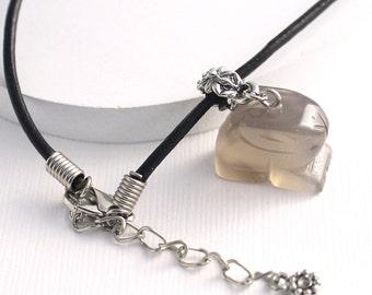 Bunny Rabbit Pendant - Rabbit Necklace, Gray Quartz Gemstone Bead, Pewter Flower Bail, Woodland Animal, Black Leather Cord w/ Extender