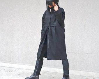Italian Coat, black wool jacket, high neck collar, wool evening coat, jacket for plus size women, oversized coat, black party jacket