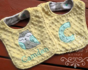 Personalized minky bib set of 2 - minky baby bib owl chevron - name bib set - gender nuetral - monogrammed bibs - reversable