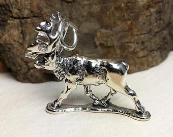 3D Sterling Silver Caribou Bracelet Charm, Reindeer, Canada, Alaska, Jewelry, .925 Silver, DIY, Charms, (C266)