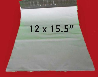 "10 Large White Poly Mailers. Non-Fragile Use. 12""x15.5"" Polyethylene Envelopes. 5347"