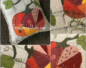 Crazy Quilt Pumpkin - Wool Applique Pattern #WA109