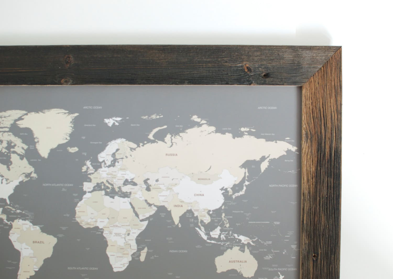 Small world map push pin travel map reclaimed wood art description small world map gumiabroncs Image collections