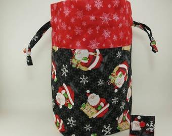 "Knitting Project Bag - New! ""Kringle Krossing"" Large Drawstring Project Bag (V)"