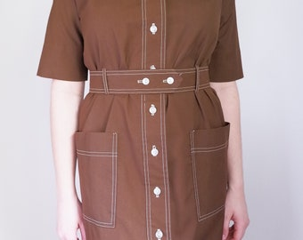 Brown Button Up Dress with Pockets