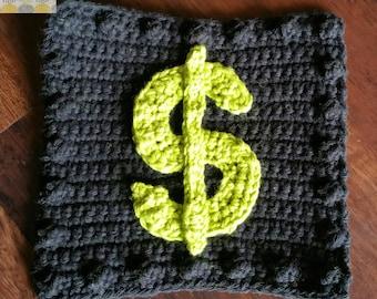Crochet Dollar Sign Applique Granny Square PATTERN: Like a BOSS Blanket Series pdf instant digital download