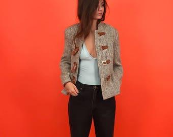 Wool blend cropped menswear jacket S