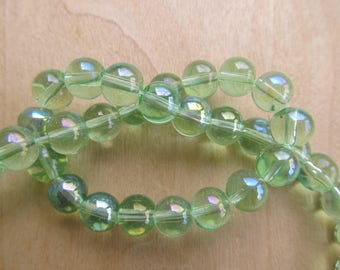 Set of 20 dyed 8 mm semi-transparent glass beads: sea green.