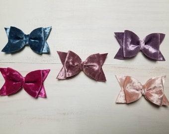 Velvet Hair Bow Hair Clip Pink, Dusty Rose, French Blue, Lavender, Fuchsia