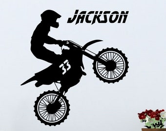 Motocross Rider with Personalized Name and Number - Custom Vinyl Decal Stickers for Bedrooms
