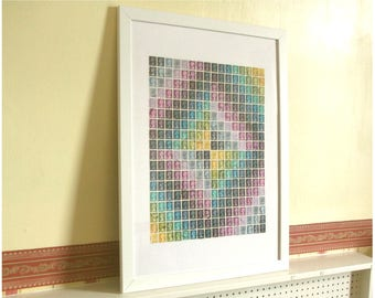 Abstract Stamp Art, Multicolour Wall Art | Framed Upcycled Postage Stamp Art, Kaleidoscope Collage | Contemporary Retro British Office Decor