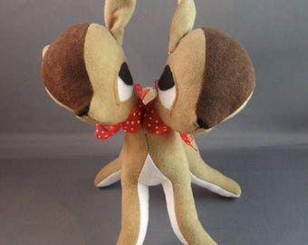 Fawn Deer Two Headed Twin Deers in Dark Brown soft sculputure baby gift retro freak conjoined twin - ready to ship