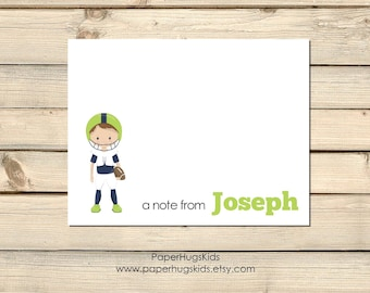 Football stationery, Football Note Cards, Kids Thank You Cards, Personalized Stationery, Kids Note Cards, Sports, football / Set of 10