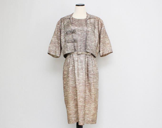 Vintage 1950s Mocha Suit Dress - Size Extra Large