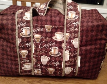 LAST ONE!!  Large Travel Tote Overnight Bag- Brown Coffee fabric