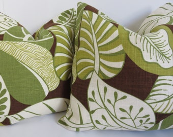 Green pillow cover- Brown pillow - Green leave pillow - Tropical pillow - Pillow cover - pillow