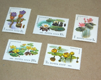 Water Flowers Soviet Vintage Postal Stamps Set of 5 Floral Botanical postage stamp USSR Russia Soviet Union Souvenir Nature lover gift
