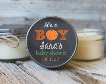 Set of 12 - 4 oz Baby Shower Candle Favor - Soy - Personalized Baby Shower Favors // Little Pumpkin Baby Shower//Its a Boy Pumpkin// Favors