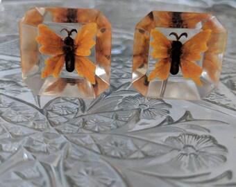 Lucite & Butterfly Screwback Earrings
