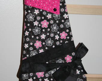 Women's Pink and Black Flower Apron